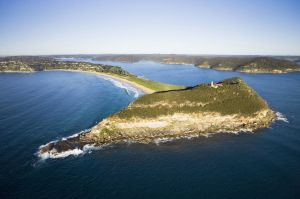 Aerial view of Barranjoey Headland and Palm Beach, Northern Beaches