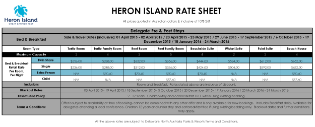Heron Island Resort special rates for delegates